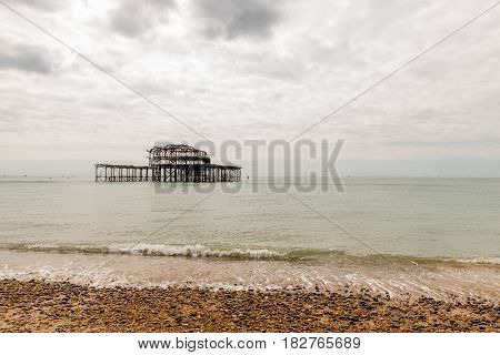 Day view of Brighton Pier after fire.