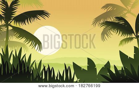 At sunset jungle scenery silhouettes vector illustration