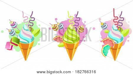 Set of ice cream cones of whipped cream of different color and taste pieces of candy filled with sweets marshmallows straws isolated on white background