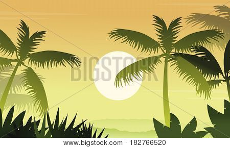 Forest scenery with palm silhouettes vector illustration