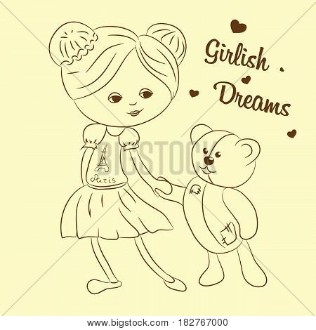 Vector illustration with girl and teddy bear. Format eps10.