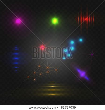 Set of abstract lights, VECTOR glowing elements on dark background