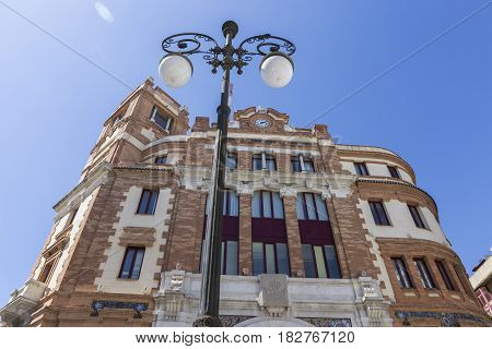 Cadiz SPAIN - March 31: Building post office It was constructed in 1925It is located in the Plaza de las Flores next to the Central market of style regionalist with some modernist tones take in Cadiz Andalusia Spain