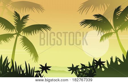 Scenery jungle with palm silhouettes vector illustration