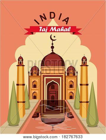 Vector illustration vintage travel poster india palace taj mahal
