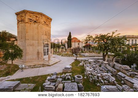 Tower of Winds and remains of Roman Agora in the old town of Athens, Greece.