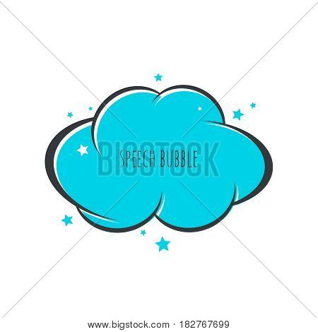 Speech bubble icon. Vector frame. Comic text box with stars. Blue color.