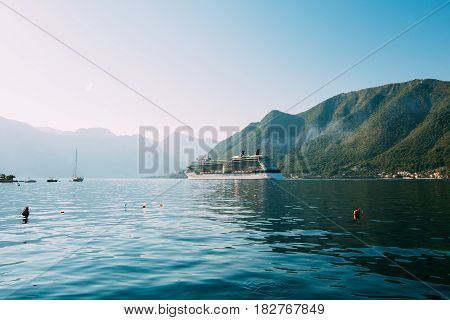 Cruise liner in the Boka Bay of Kotor in Montenegro.