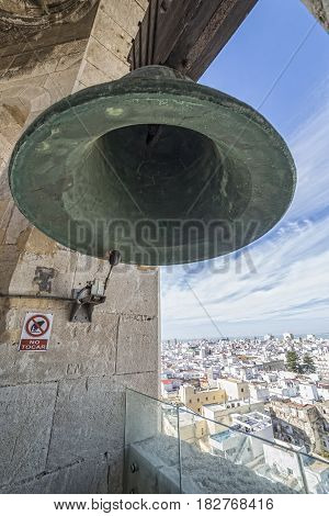 View of the historic center of Cadiz from the bell tower take in Cadiz Andalusia Spain