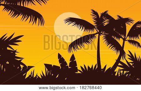 Palm scenery at sunset silhouette style vetcor illustration