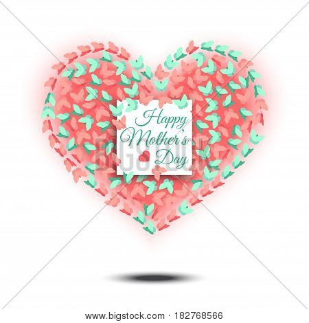 Happy Mothers Day. Heart shaped design for postcard.