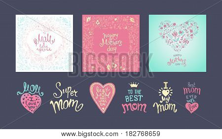 Happy Mothers Day. A Set of templates with hand-drawn floral background and Lettering. Artistic design for a greeting cards invitations posters banners.