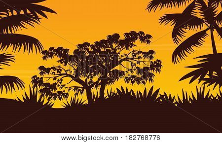 Jungle with tree and palm silhouette scenery vector art