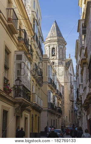 Typical street in Cadiz, balconies and windows typical of Andalusia, Spain
