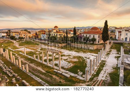Church and remains of Roman Agora in the old town of Athens, Greece.