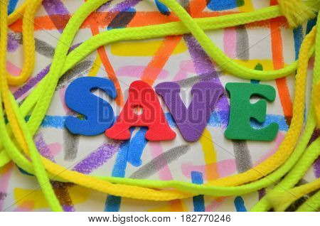 word save on a  abstract  colorful background