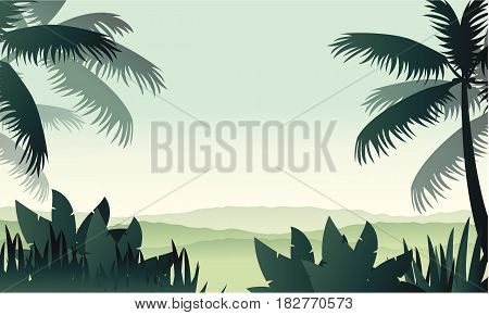 Silhouette palm on forest scenery vector illustration