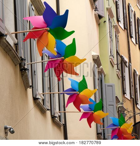 Colorful Vanes In Windows Of A Historical Street