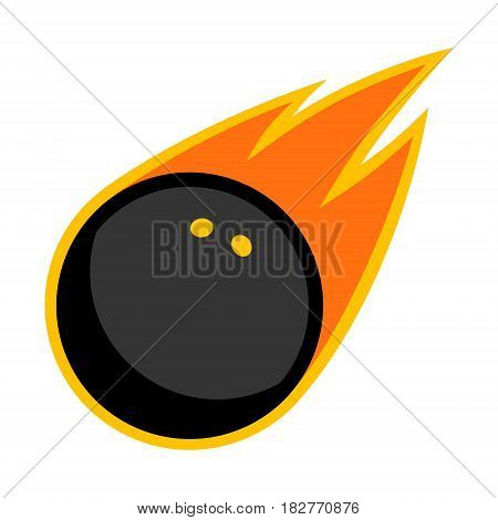 Squash sport rubber ball comet fire tail flying logo