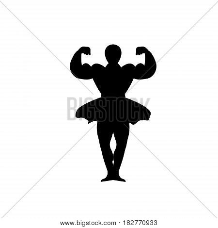 bodybuilder dancer isolated on white background. Vector illustration.