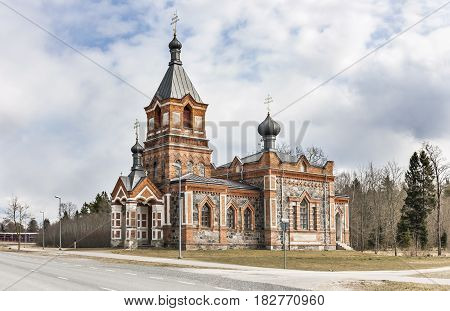 Old chapel made or red bricks and cobble stones in Kohila Estonia