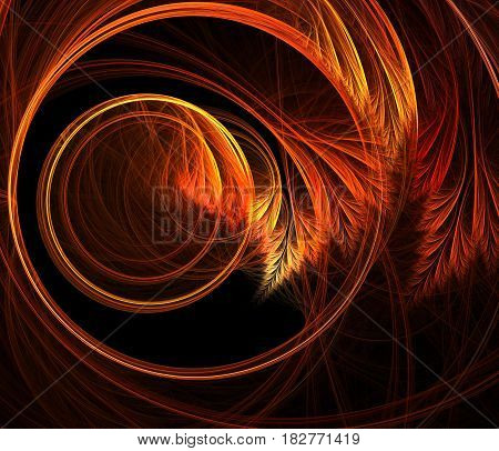 An abstract computer generated modern fractal design on dark background.  Fluffy helicity. Spiral floral pattern