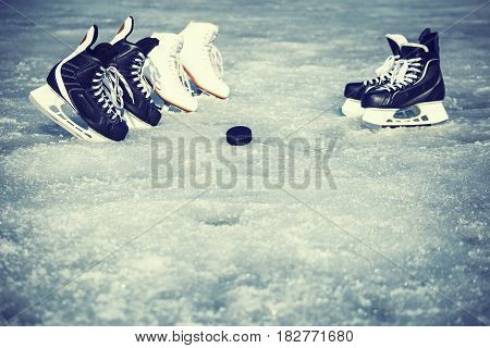 Skates for training in winter sports on ice.