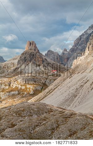 Beautiful mountains and mountain peaks of the Dolomites in Italy. National Park Tre Cime di Lavaredo