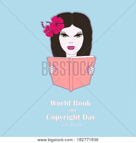 Typography banner World Book and Copyright Day, 23 april. Girl with book on blue stock vector illustration