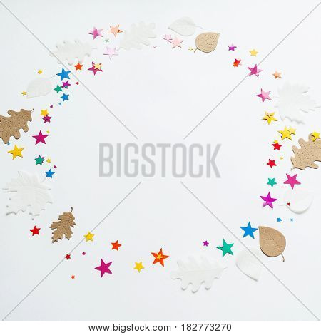 Round Frame With Color Star And Autumn Leaves