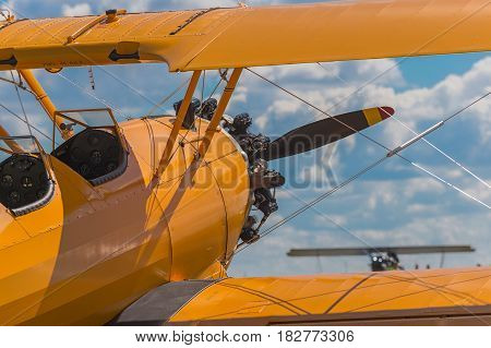 Over the Wing of the Bush Stearman - second airplane in distance