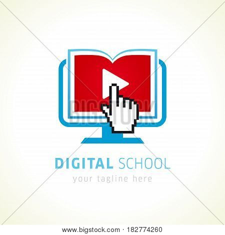 Digital school online logo. On-line educational blue vector logo. Open book with pages in monitor, click hand pixel sign and video player icon. Virtual i.q. courses branding identity. E-book, e-library or e-reader soft icon. Sign of learning or scientific