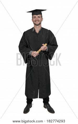 Young man in his graduation robe or gown