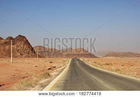 On a way to Wadi Rum valley in Jordan.