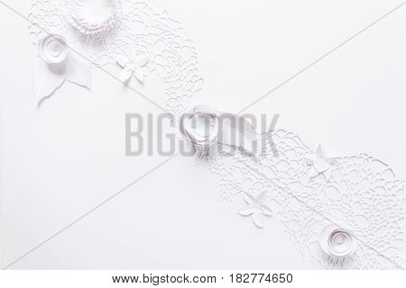 Laser Cutting, Floral Composition With White Paper Flower On White Background