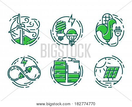 Green ecology energy conservation icons and outline style format global ecological web world environment power vector illustration. Light wind alternative concept symbols.