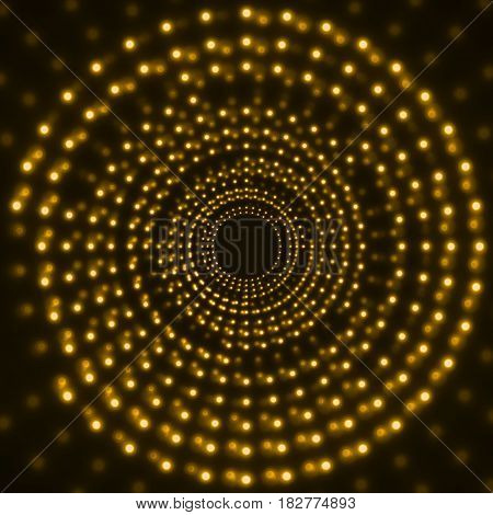 Abstract technology background of glowing circles. Vector