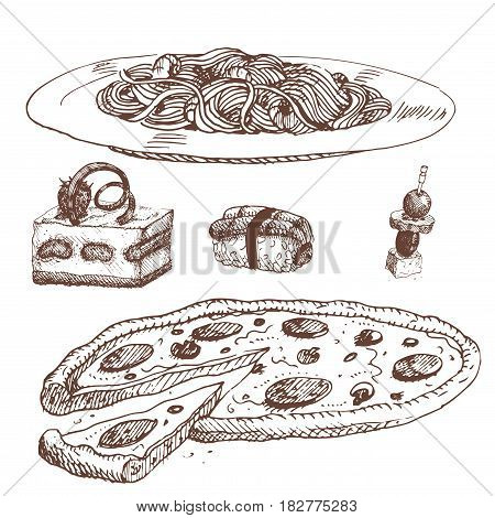 Hand drawn food sketch natural menu restaurant fresh product and kitchen doodle meal cooking cuisine sketchy organic vector illustration. Vintage fresh tasty product.