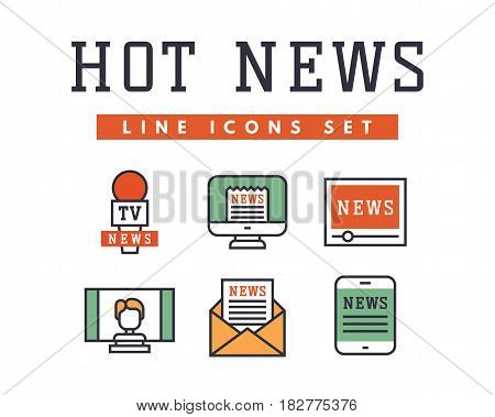 Hot news icons flat style colorful set websites mobile and print media newspaper communication concept internet information vector illustration. Business television report marketing thin sign.