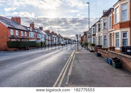 England street sunset morning view Northampton UK.