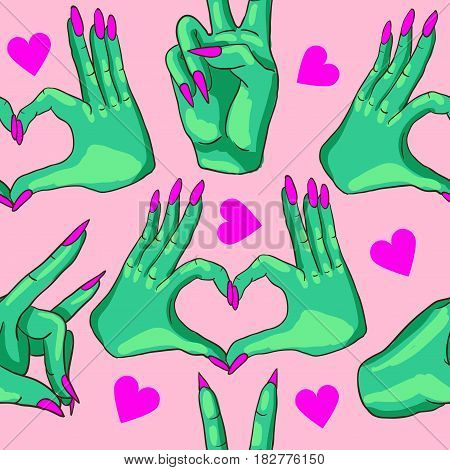 Pattern with green zombie hands. Vector illustration.