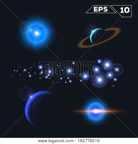 abstract space elements with shine sparkles isolated on dark background