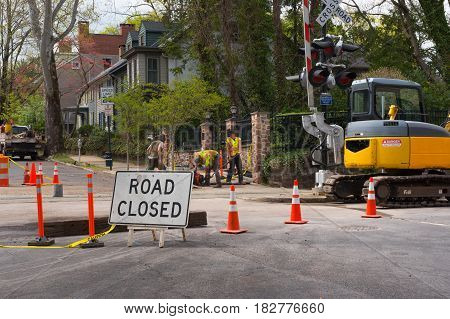 New Hope PA -- April 20 2017 -- Road closed while men do repair work. Editorial and Illustrative. editorial use only