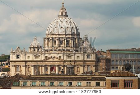 The view on St Peter Basilica Vatican Italy