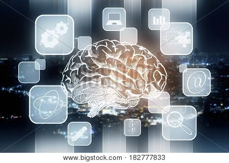 Abstract brain sketch with digital business cells on night city backgroud. Brainstorming concept. 3D Rendering