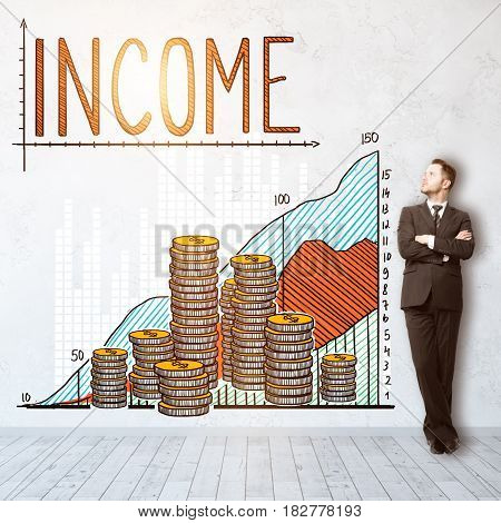 Thoughtful young man in interior with creative money chart sketch on wall. Profit concept