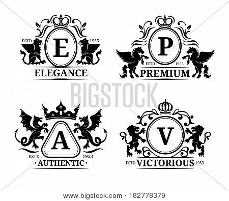Vector monogram logo templates. Luxury letters design. Graceful vintage characters with animals silhouettes illustrations used for hotel, restaurant, boutique, jewellery invitation, business card etc.