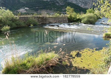 River Sarca In Trentino Alto Adige In Italy