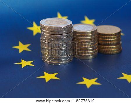 Euro Coins, European Union, Over Flag