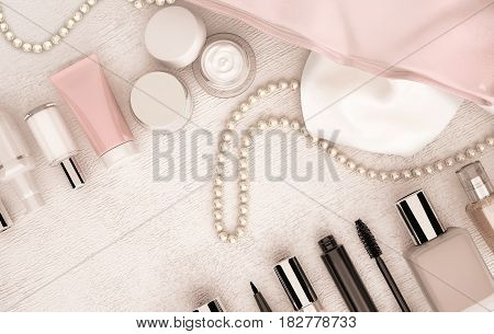Make up bag with cosmetics and string of pearls located on the white wooden background. Top view. 3D illustration